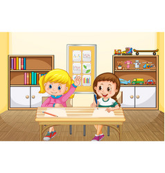 Scene with two girls studying in classroom vector