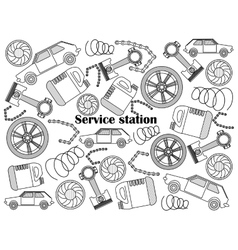Service station colorless set vector