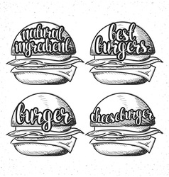 Set handmade burgers with stylish calligraphy vector image