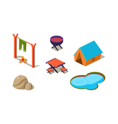set isometric icons for camping tent vector image