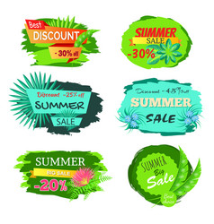 set of discount emblems 30 off summer sale promo vector image