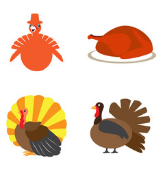 set of turkey icons vector image