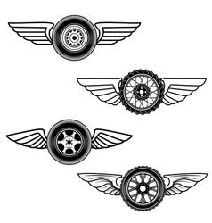 set of winged wheels design element for logo vector image