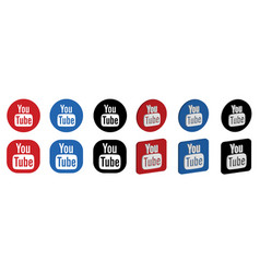 Set youtube logo icons vector