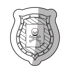 Skull on shield vector