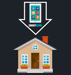 Smart house with smartphone and set services icons vector