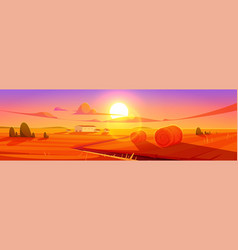 Sunset scenery rural landscape field with hay vector