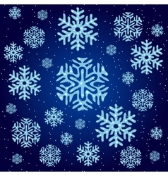 Texture of blue snowflakes on a blue background vector image