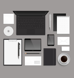 Top view office corporate design mockup template vector