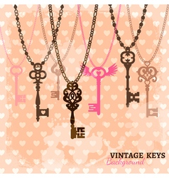 Vintage hanging keys template vector