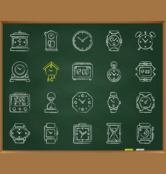 Watch chalk draw line icons set vector