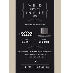 Wedding invitation mr and mrs theme vector