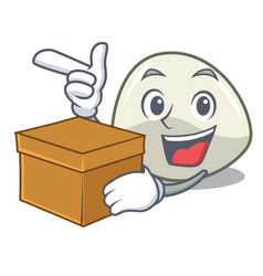 With box character cartoon fresh mozzarella cheese vector
