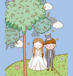 Woman and man wedding with clouds in the mountains vector