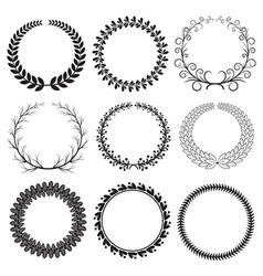 Black Laurel Wreaths Set vector image