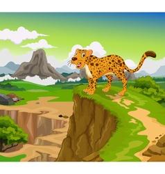 funny cheetah cartoon with beauty mountain vector image vector image