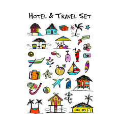 hotel and travel icons collection for your design vector image