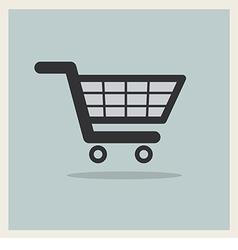 Shopping Cart Icon on Retro Blue Background vector image