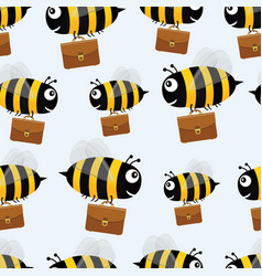 bees with briefcases seamless pattern vector image