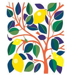Decorative card with lemons and leaves vector image vector image