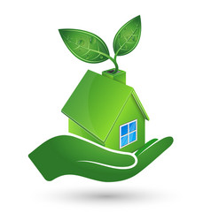 green house in hand ecology symbol vector image vector image