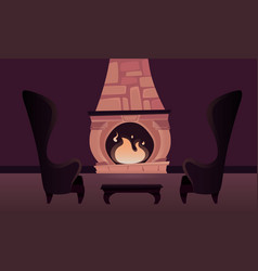 interior of the castle with a fireplace vector image