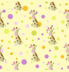 pattern with cartoon cute baby giraffe and circles vector image
