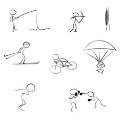 stick men sports icon vector image
