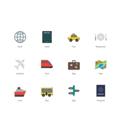 Travel color icons on white background vector image vector image