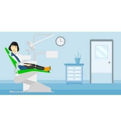 Woman suffering in dental chair vector image vector image