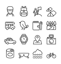 adventure camping icon set in thin line style vector image vector image