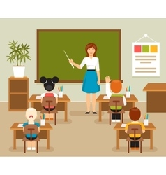 Classroom with teacher and students vector