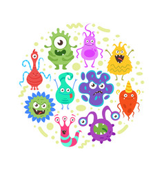 colorful funny bacteria characters vector image