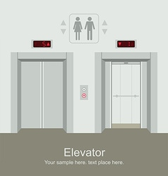 Elevator open and closed doors vector image