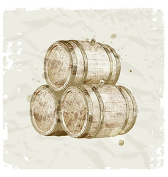 hand drawn wooden barrels vector image vector image