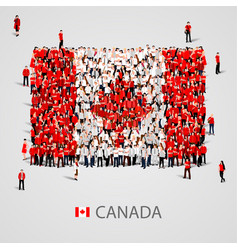 large group of people in the canada flag shape vector image vector image