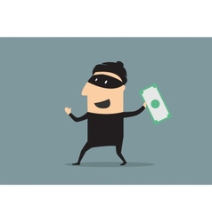 Masked thief with money in cartoon style vector image vector image