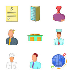 middle management icons set cartoon style vector image vector image
