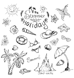set of summer travel and vacation emblems vector image