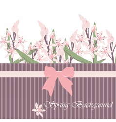 Spring Time Card with pink flowers vector image