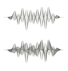 two monochrome sound waves on white background vector image vector image