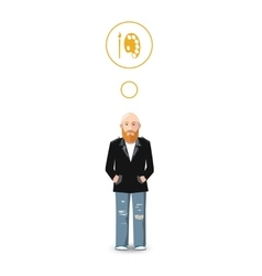 Flat character artist with profession icon vector image
