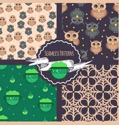 halloween patterns set vector image vector image