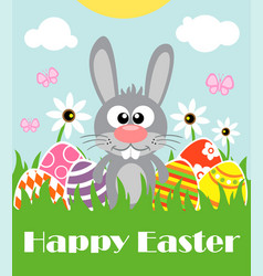 happy easter background card with funny rabbit vector image