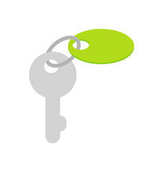 key with trinket on keyring flat icon vector image