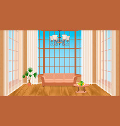 living room interior with big windows modern vector image