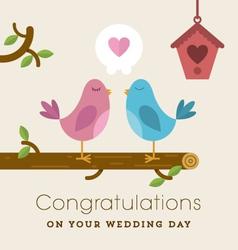 Love birds on a branch wedding card vector image vector image