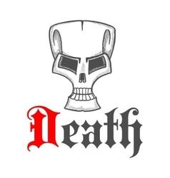 Old cracked skull vintage sketch symbol vector image