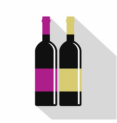 red and white wine bottles icon flat style vector image