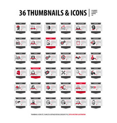 36 thumbnails and icons vector